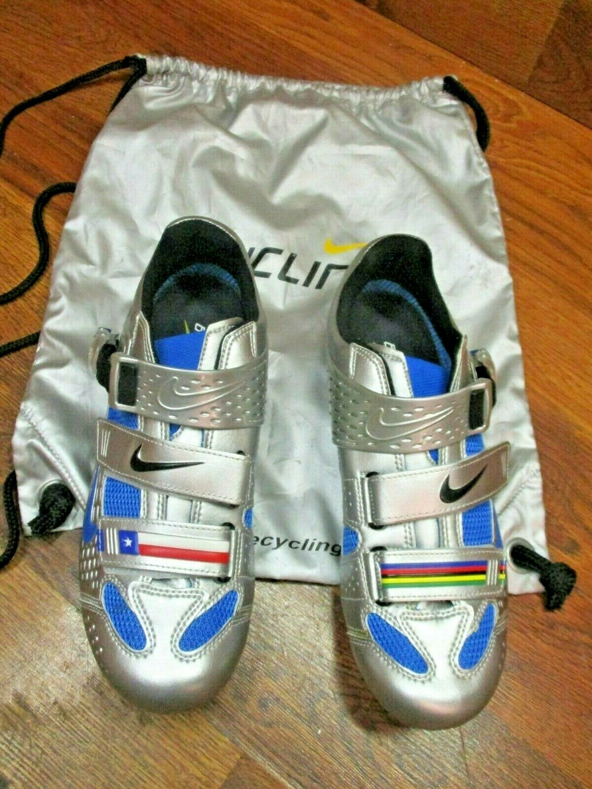 NOS LANCE LIMITED CARBON ROAD CYCLING SHOES US  9.5 CHROME   PHOTO blueE