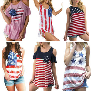 9ff418390390bd Women's Sling Blouse Patriotic Stripes Star American Flag Print Tank ...