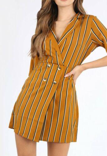 Womens Ladies Mustard Stripe Mock Horn Button Mini Dress