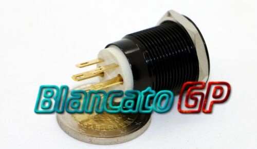 PULSANTE MONOSTABILE 19mm IMPERMEABILE IP67 STAGNO LED BIANCO 12V DC CORPO NERO