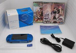 N-Mint-Sony-PSP-3000-Console-VIBRANT-BLUE-w-Box-amp-Shining-Series-3pcs-Japan