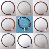 Sale Sterling Silver Hook Clasp 3mm Genuine Leather Bracelet Fit European Charm