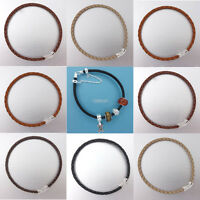 Sale Sterling Silver Hook Clasp 3mm Genuine Leather Bracelet Fit European Charm
