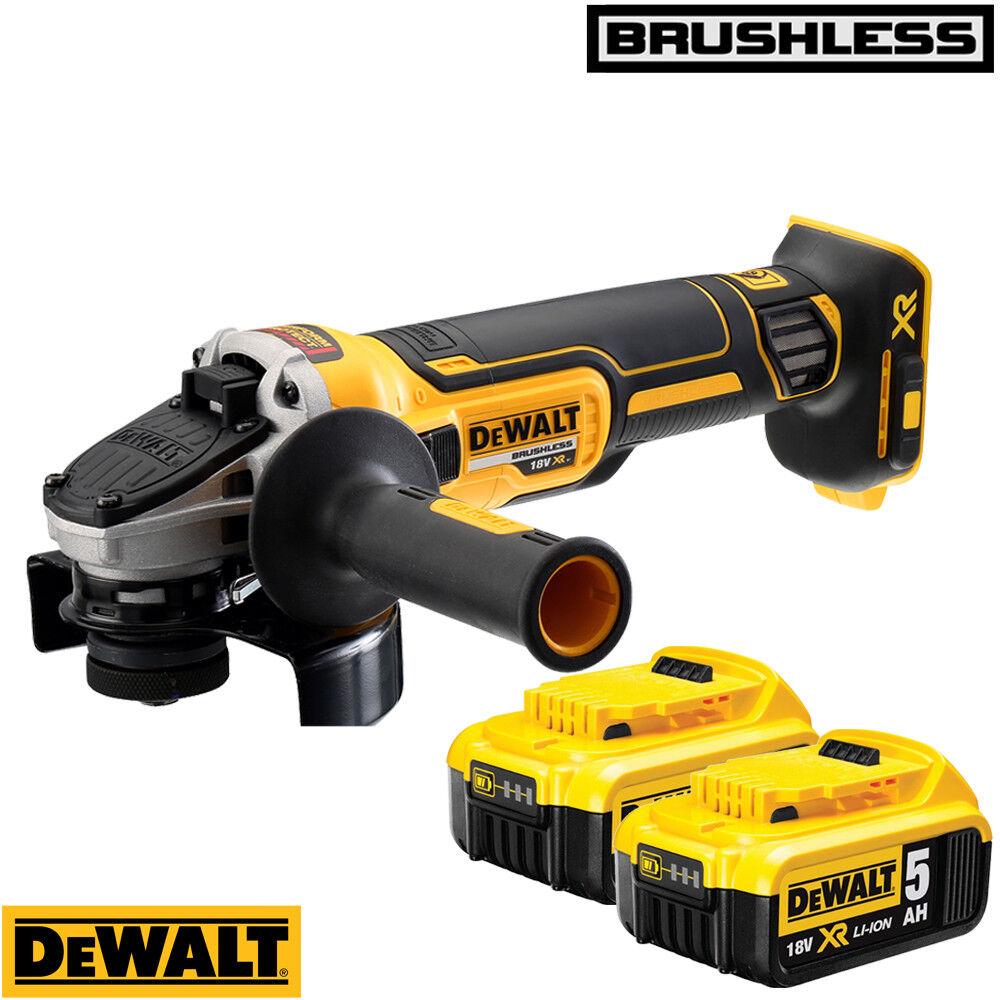 Dewalt DCG405N 18V XR Brushless Angle Grinder 125mm With 2 x 5.0Ah Batteries