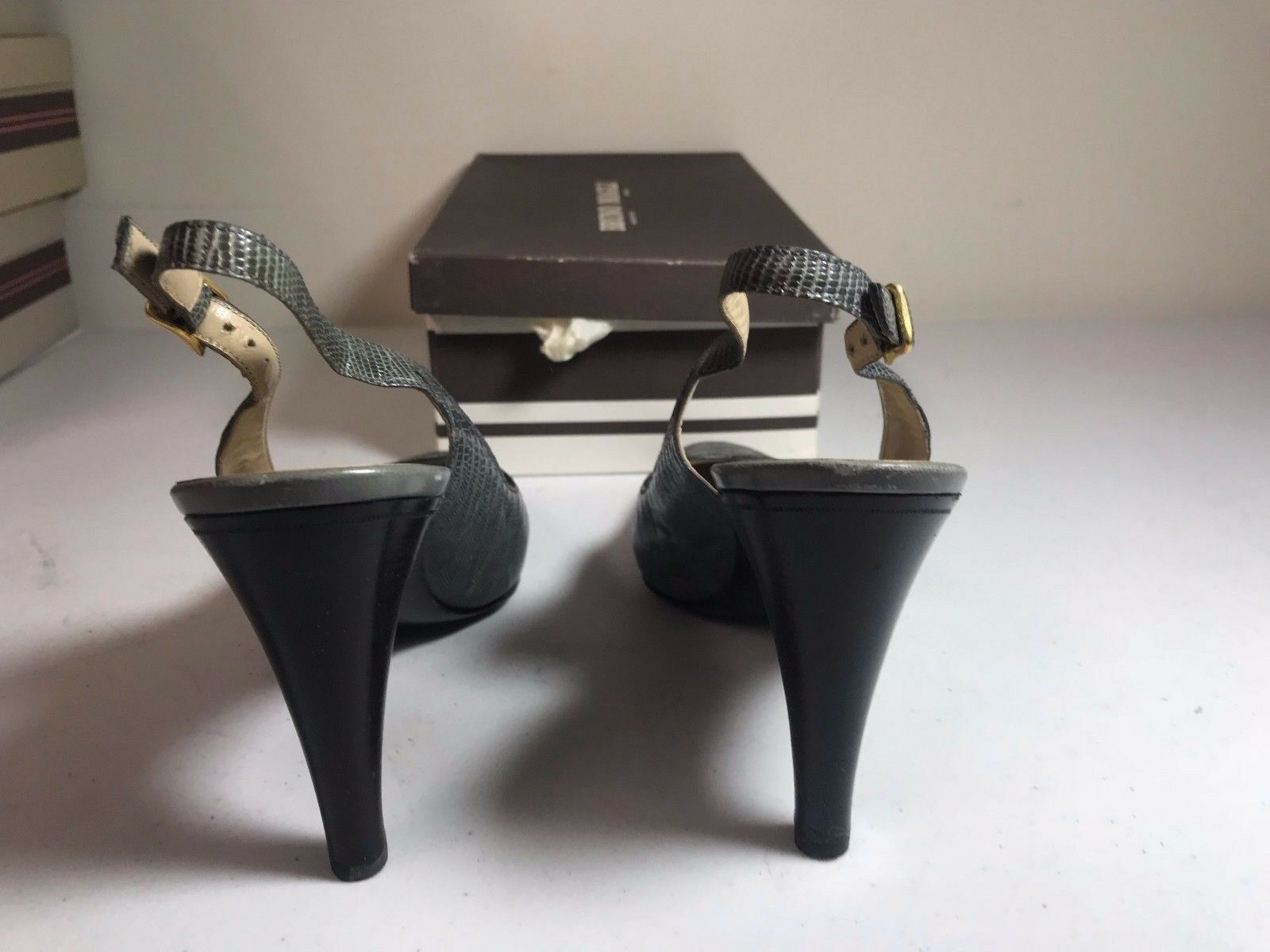 Italian Bruno Magli damen Slingback Teyus grau grau grau Leather Heel SZ 8.5 AAAA 6f0a10