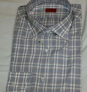 Isaia-Napoli-100-Cotton-Blue-Check-Dress-Shirt-NWT-495-Size-16-Made-In-Italy