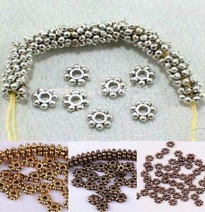 1000pcs-tibetischen-Antik-Silber-Golden-Bronze-Daisy-Spacer-Perlen-4mm-6mm
