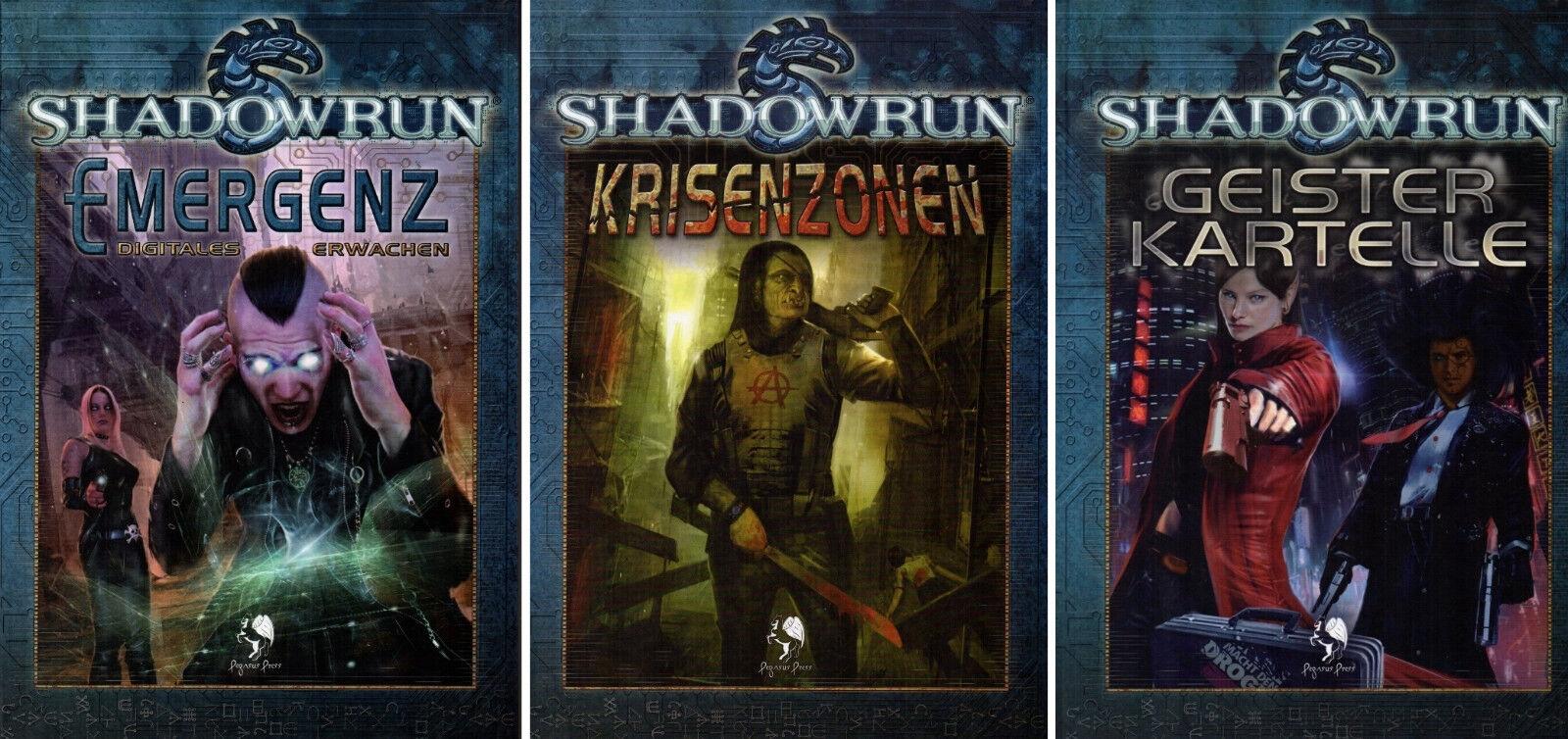 Bundle 3 x Shadowrun-KRISENZONEN-EMERGENZ DIGITALES ERWACHEN-GEISTERKARTELLE-neu