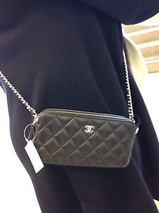 fc2370652a05 Auth BNIB Chanel CC WOC Double Zip Black Lambskin Wallet On A Chain ...