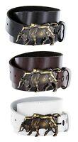 Lady Bull Authentic Italian Brass Belt Buckle Genuine Leather Casual Jean Belt
