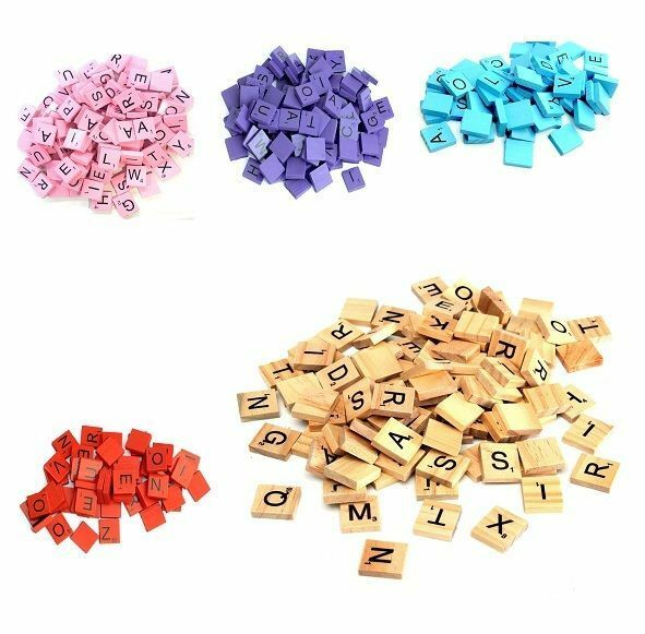 Wooden Scrabble Individual Tiles Letters Numbers For Crafts Alphabet Game Scrab