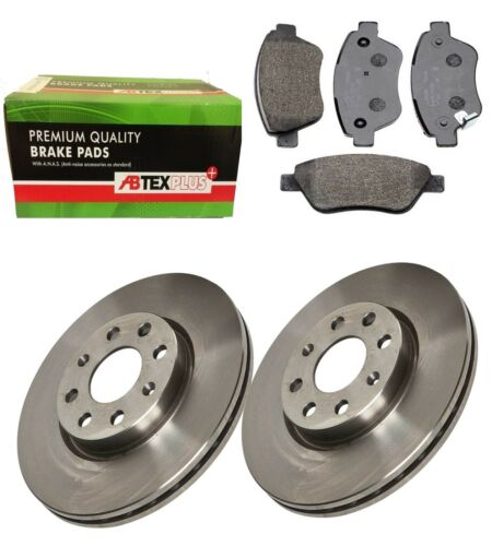 FRONT BRAKE DISCS AND BRAKE PADS FITS VAUXHALL CORSA D 2006-2013 SOLID