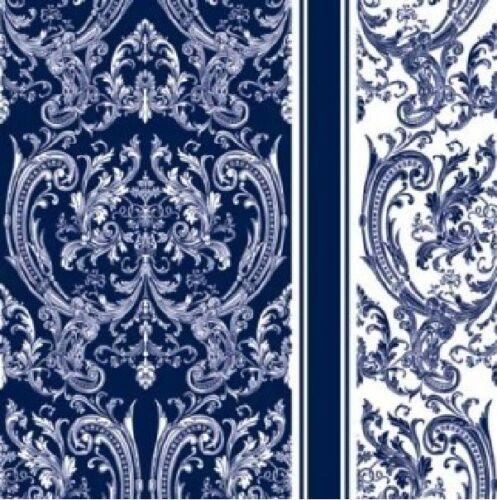4 X Vintage Papier Serviettes de Table Bleu Foncé Emblème//DECOUPIS 33 x33cm