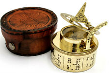 BRASS Sundial BUSSOLA-POCKET BOX Sundial-durm Sundial con custodia in pelle