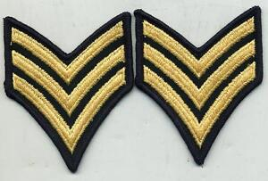 Vietnam-Era-US-Army-Sergeant-Blue-Stripes-Patch-Pair