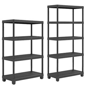5-or-4-Tier-Plastic-Shelf-Shelving-Shelves-Rack-Racking-Home-Storage-Unit-Black