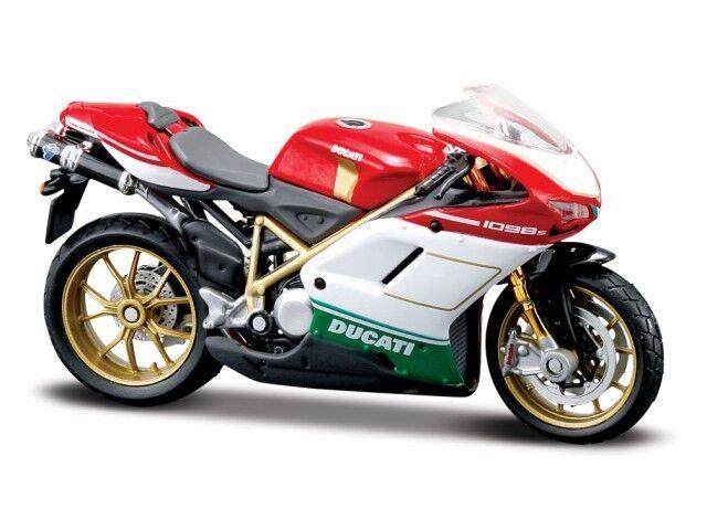 Ducati 1098S Rojo-Blanco-Verde Escala 1:18 Moto Modelo de Maisto