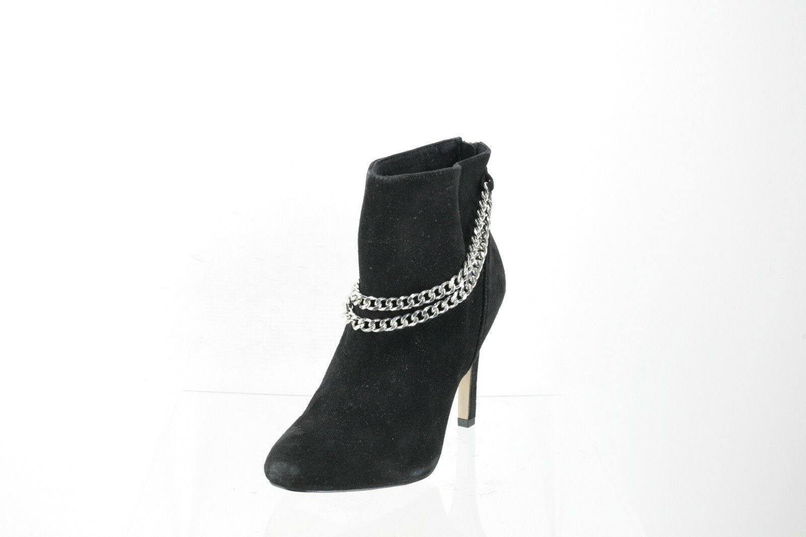 Women's Dolce Vita Soft Black Suede Silver Chains  Ankle Boots Heels Size 8.5 M