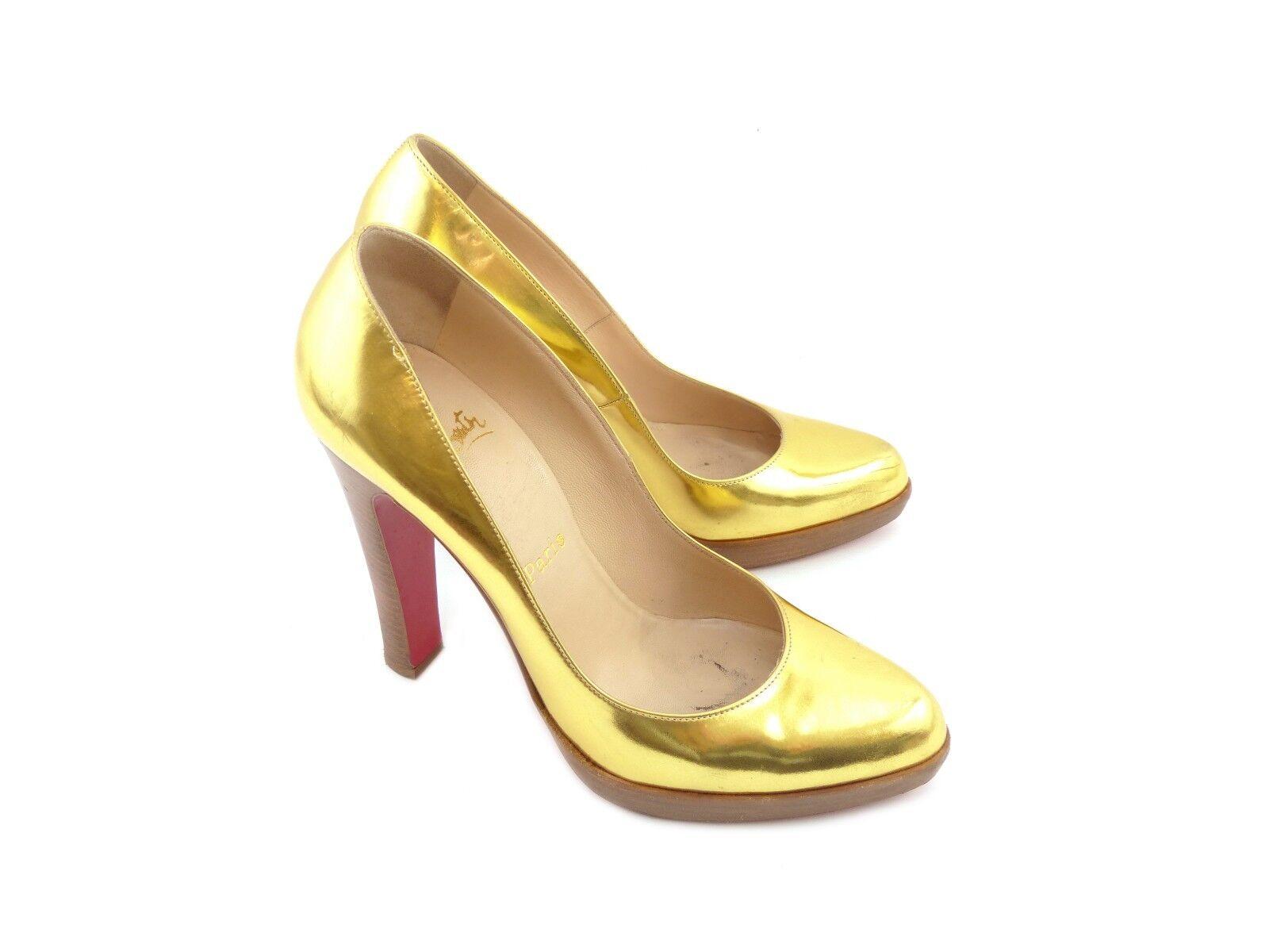 Zapatos casuales salvajes Christian Louboutin Super Escote 868 oro Specchio Cuero [42% APAGADO PVP]