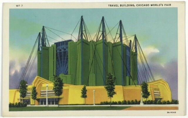 Postcard Travel Building Chicago Worlds Fair Host Railroad Exhibit 1933 1934