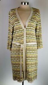 jill Womens J jaunes beige cardigan L rayures Cardigan beige à long à pAqqwd