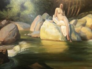 Nude-Seated-On-Rocks-In-Landscape-Oil-Painting-36-X-24
