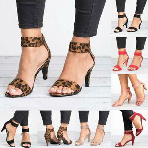 Women-039-s-Kitten-Mid-Heels-Summer-Ankle-Strap-Sandals-Zipper-Casual-Shoes-Peep-Toe