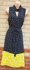 TU-BLACK-WHITE-LIME-SPOTTED-POLKA-DOT-SLEEVELESS-BELTED-A-LINE-MIDI-DRESS-14-L