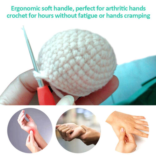 30pcs Crochet Hooks Kit Yarn Knitting Needles Sewing Tool Ergonomic Grip Set+Bag