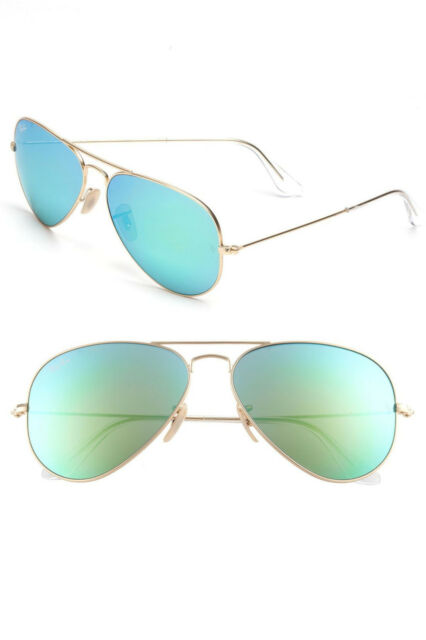 ff18ce62e2 Ray-Ban Rb3025 Large 58mm Gold Aviator Sunglasses 112 19 Green Flash Mirror  Lens