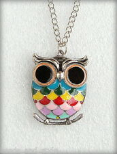 Long vintage antique silver chain color owl pendant / fashion jewelry necklace