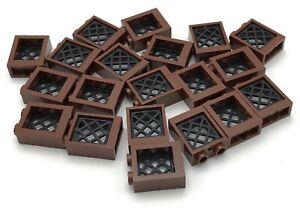 Lego-20-New-Reddish-Brown-Windows-1-x-2-x-2-Flat-Front-Black-Lattice-Pattern
