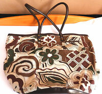 EAST ADDITIONS BROWN AND GREEN 100% COTTON TOTE/HANDBAG WITH BROWN PVC TRIM