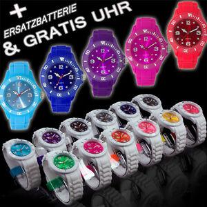 GUMMI-SILIKON-UHR-Mode-Armbanduhr-Damenuhr-Herrenuhr-BUNTE-Sport-Trend-WATCH