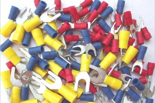 100 mixto Pack. Rojo 5mm Azul Y Amarillo 4mm Horquilla de terminales de crimpeado 6mm