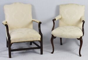 Astonishing Details About Pair Of Mahogany Chippendale Style Chairs White Damask Fabric Williamsburg Look Theyellowbook Wood Chair Design Ideas Theyellowbookinfo