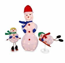 3 Pc Lighted Snowman Family Tinsel Outdoor Christmas Decoration Yard Art