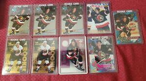 Daniel-Alfredsson-Lot-1995-96-pinnacle-zenith-rookie-card-x-2-plus-7-rookie-lot