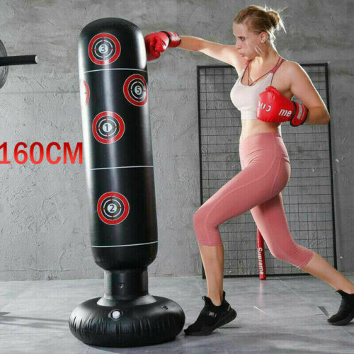 160cm Free Standing Inflatable Boxing Punch Bag Kick MMA Training Kids Adult UK