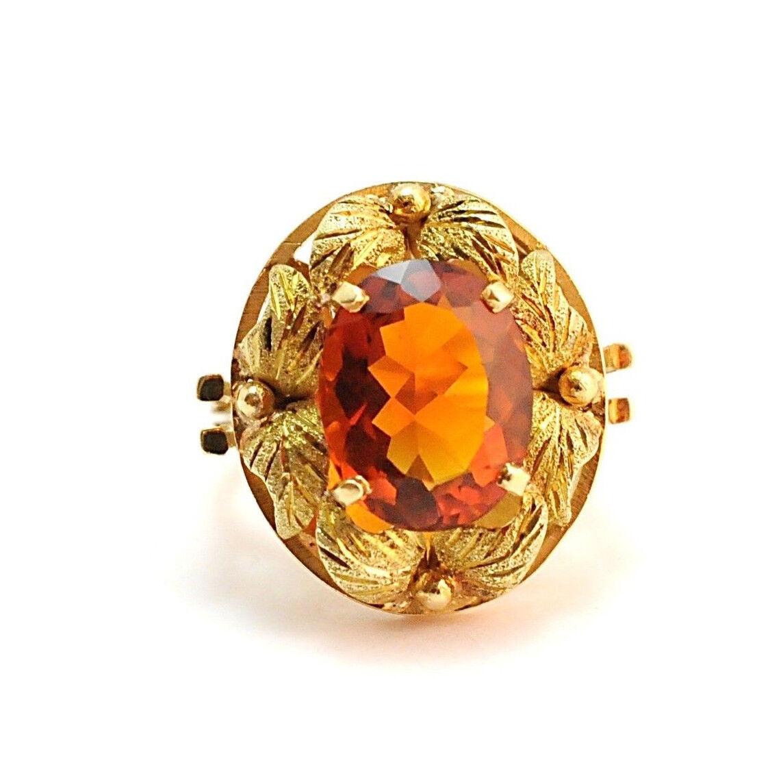 Vintage Madeira Citrine Ring 18k Yellow gold Size 7