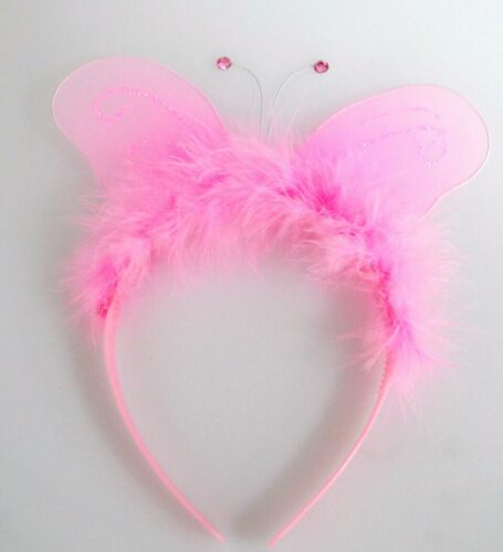 Baby Pink Butterfly Wings Feather Headband Fairy Race For Life Accessory 5658 WN