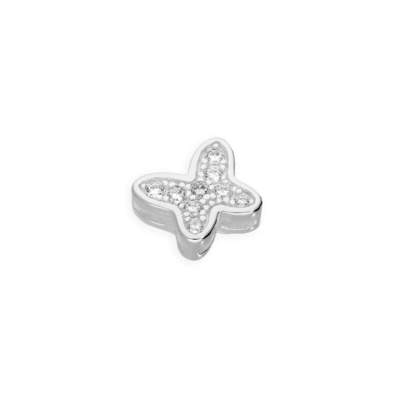 Real 925 Sterling Silver & Clear Cz Crystal Floating Butterly Charm Butterflies