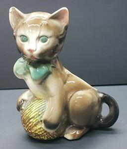 Vintage Royal Copley Kitten With Yarn Planter