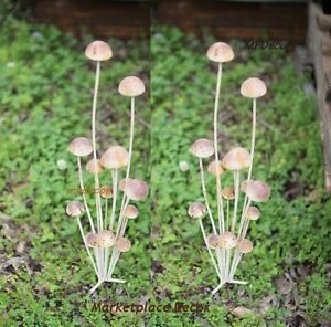Image Is Loading Rustic Garden Wild Mushroom Clusters Painted Metal  Sculptures
