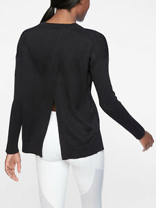 ATHLETA-Highland-Crossback-Sweater-NWT-Size-Medium-Black-sold-Out-in-Stores