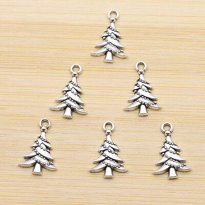 15pcs Retro Style Tibet Silver Beautiful Christmas Tree Charms Pendants 21X14MM