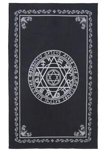 Teppich-Fussmatten-Schwarz-Und-Runen-Magische-Symbole-80x50cm-Occult-Gothic-Hexe