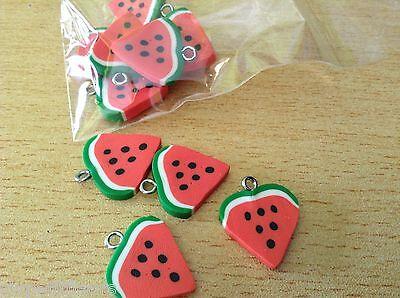 WATERMELON slices fimo pendants charms x10 22mm fruit summer B105 UK