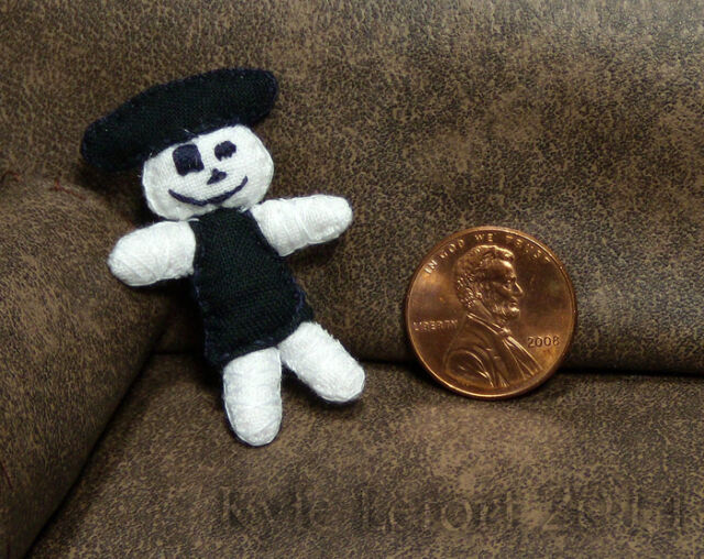 Halloween Skeleton Pirate Plush Doll - Artisan Unique Dollhouse OOAK Miniature
