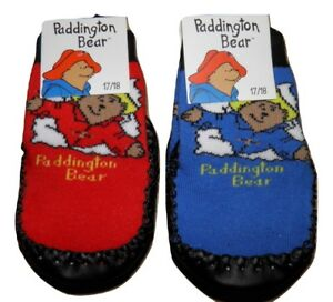 Kids-Paddington-Bear-Slipper-Socks-Red-or-Royal-Blue-Soft-Suede-Soles-0-3-Years